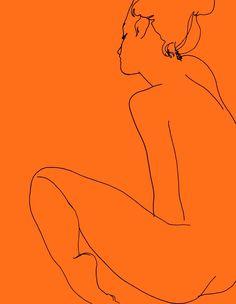 redlipstickresurrected: Ed Hodgkinson (British, b. based East London, England) - (N) Madelaine, Sitting, Paintings: Enamels on Aluminum Figure Sketching, Figure Drawing, Line Drawing, Kunst Online, Orange Aesthetic, Art Walk, Art Graphique, Erotic Art, Figurative Art