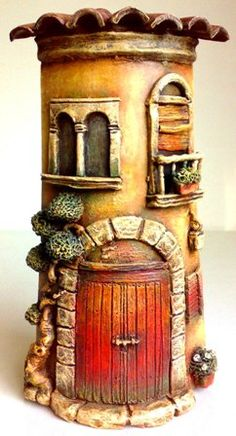 scale miniature cottage interior by Rik Pierce Pottery Houses, Ceramic Houses, Dad Crafts, Rock Crafts, Tile Crafts, Decor Crafts, Paper Clay, Clay Art, Clay Clay