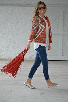 paisley top & fringe bag