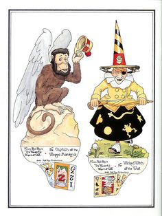 Rob Roy's Oz - Wicked Witch of the West & Captain of the Winged Monkeys Paper Toys, Paper Crafts, Paper Puppets, Diy Crafts, Winged Monkeys, Magic Of Oz, Bobe, Wicked Witch, Vintage Paper Dolls