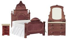 Victorian Walnut Bed from our selection of miniature beds and dollhouse bedroom furniture. The miniatures you need to build or furnish your dollhouse. Victorian Bedroom Set, Victorian Furniture, Vintage Furniture, Victorian Decor, Repurposed Furniture, Victorian Era, Miniature Dollhouse Furniture, Dollhouse Miniatures, Haunted Dollhouse