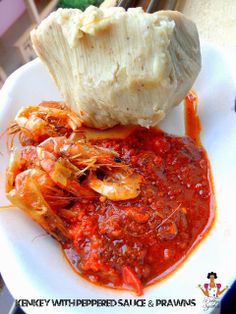 Kenkey with peppered sauce (Ghana)