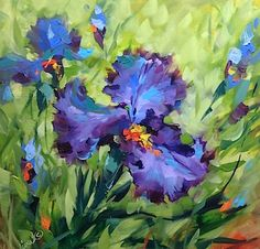 Signs of Spring Blue Iris, Flower Paintings by Nancy Medina, 14X14, oil www.nancymedina.com