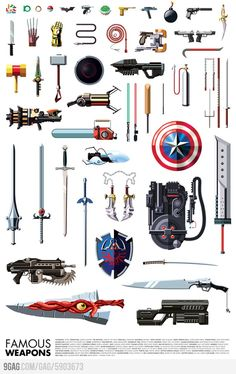 Artist Daniel Nyari (of famous robots fame) has just created this print of famous weapons from video games, comic characters, and movies. I& not really sure how Tetris blocks (tetrominoes) count as weapons, but I suppose if you beat. Geek Culture, Pop Culture, King's Quest, Univers Dc, By Any Means Necessary, Famous Movies, Fantasy Weapons, Indiana Jones, Grafik Design