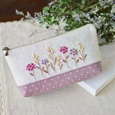 I like flower embroidery. I want to embroider many times . Hand Embroidery Tutorial, Hand Embroidery Designs, Embroidery Patterns, Embroidery Purse, Embroidery Stitches, Machine Embroidery, Flower Embroidery, Sewing Crafts, Sewing Projects