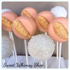 2 Feather Cake Pops in Mint, Pink, Peach, Gold, Copper, Metallic, Glitter