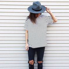 stripes + black jeans