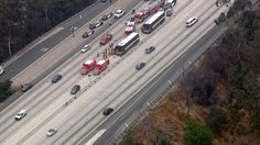 A Los Angeles County Sheriffs Department bus was involved in a crash on the 170 Freeway in North Hollywood on Monday, April 20, 2015.