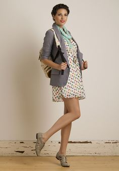 Shape on It Dress (45), Cham-brainy Blazer (55), Crinkle in Time Scarf in Aqua (16), and Polished by the Waves Flat (65). Whole outfit = $181
