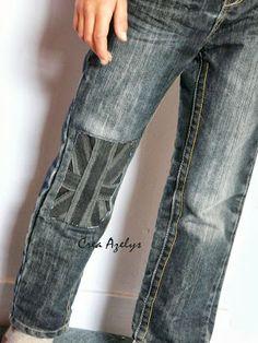 Le petit monde d'Azelys: Un Jeans super fashion - DIY Jean Rapiécé, Jean Diy, Patched Jeans, Denim Jeans, Skinny Jeans, Diy Couture, Couture Sewing, Altering Clothes, Denim Fabric