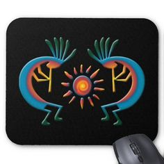 Shop Kokopelli with Sun Southwest Black Mousepad created by windyone. Skull Painting, Rock Painting, Painting On Wood, Southwest Art, Southwest Style, Painted Gourds, Painted Rocks, Pictures To Paint, Painting Pictures