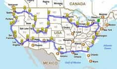 How to Drive across the USA hitting all the major landmarks. This would be a fun road trip!