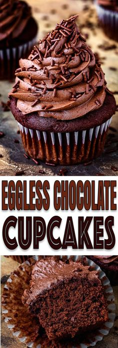 Eggless Chocolate Cupcakes Recipe These Eggless Chocolate Cupcakes are super chocolatey, moist, rich and delicious! They're easy to Eggless Chocolate Cupcakes, Eggless Desserts, Eggless Recipes, Eggless Baking, Köstliche Desserts, Chocolate Desserts, Baking Recipes, Delicious Desserts, Snack Recipes