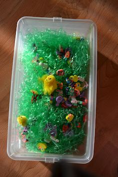 mini eraser Easter grass treasure hunt-sensory activity