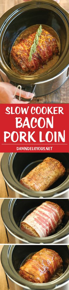 Slow Cooker Bacon Wrapped Pork Loin - Because bacon makes everything better, especially when it's effortlessly slow cooked with a brown sugar glaze! A must for Christmas dinner!