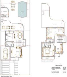 Projeto de Sobrado de 2 quartos com 167,57m²; plantas do sobrado quadrado cinza claro com 1 carro na frente