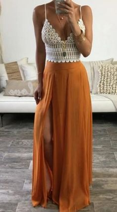 Boho Outfits, Spring Outfits, Fashion Outfits, Spring Dresses, Long Skirt Outfits For Summer, Summer Outfits Boho Chic, Dress Fashion, Summer Evening Outfits, Womens Fashion