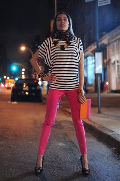Love the striped shirt and bright pink jeans. And the necklace and scarf.