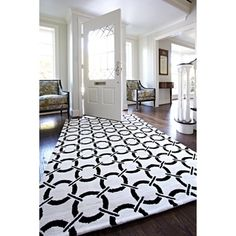 @Overstock.com - Microfiber Woven Harlow Ivory/ Onyx Rug (3'6 x 5'6) - The Harlow Rug takes the edge off a series of vibrantly colored geometric rugs with its soft, microfiber construction. Machine woven in China, Harlow is the ideal selection for any home d�cor.  http://www.overstock.com/Home-Garden/Microfiber-Woven-Harlow-Ivory-Onyx-Rug-36-x-56/7654737/product.html?CID=214117 $83.99