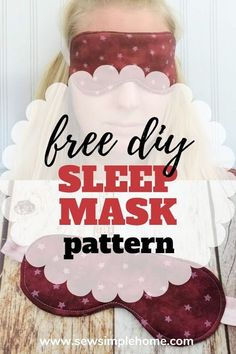 Create your own diy sleep mask with this simple tutorial and free pdf sewing pattern. Diy Sewing Projects, Sewing Projects For Beginners, Sewing Hacks, Sewing Tutorials, Sewing Diy, Free Sewing, Stitch Witchery, Sew Simple, Sewing Patterns For Kids