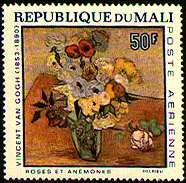 Flower Paintings on Stamps