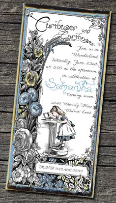 Alice in Wonderland Invitation by theblueeggevents on Etsy, $19.00. Alice in Wonderland, one of my favs.