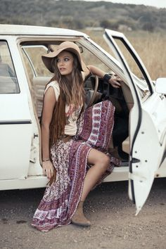 Boho chic maxi skirt gypsy print & modern hippie vest & hat. For the BEST Bohemian fashion trends for 2015 FOLLOW> https://www.pinterest.com/happygolicky/the-best-boho-chic-fashion-bohemian-jewelry-gypsy-/ <now.
