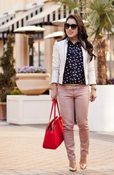 cute & little blog | white ruffle leather jacket, j.crew french hen shirt, pink moto pants, kate spade red elissa bag, kate spade rose gold ...