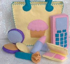 Cupcake Tote Bag Purse with Makeup Accessories (lipstick, blush, brush, compact, cell phone)