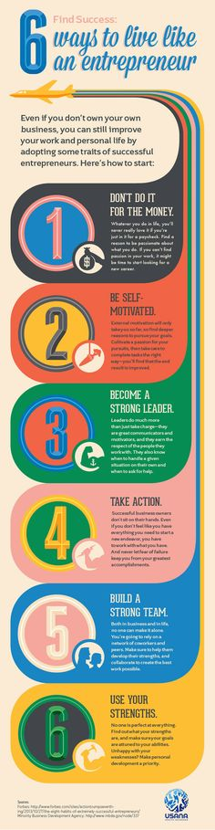 6 Ways to Live Like an Entrepreneur #Infographic #Entrepreneur - Tap the link now to Learn how I made it to 1 million in sales in 5 months with e-commerce! I'll give you the 3 advertising phases I did to make it for FREE!
