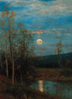 """""""Fall Sunset,"""" Dwight William Tryon, oil on academy board, 12 x 9"""", private collection."""