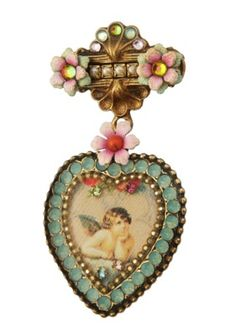 Michal Negrin Jewelry Crystal Heart Flower Brooch | Michal Negrin Pin