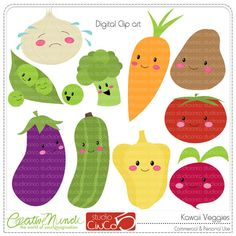 Buy 2 get 1 FREE - Kawaii Veggies - Digital Clip Art , Commercial Use Clipart, Scrapbook, Printable - INSTANT DOWNLOAD. $5.95, via Etsy.