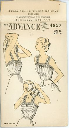 1940s Lingerie Vintage Sewing Pattern Advance 4857