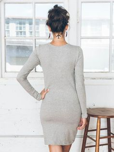This elegant day dress is made from thick, stretchy t-shirt fabric that's substantial enough to skim over your body in a very flattering way. Front patch pocket