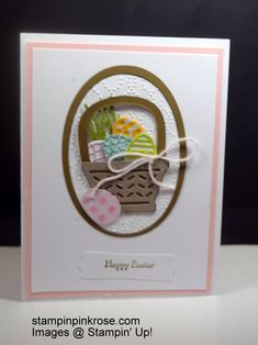 Stampin' Up!  Easter  card made withBasket Bunch  stamp set and designed by Demo Pamela Sadler. This  little basket is filled  with colorful  eggs will bring smiles.  See more cards  at stampinkrose.com and etsycardstrulyheart