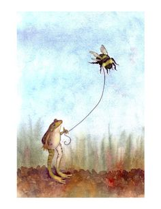 Frog & Bumblebee Watercolor Illustration Art Print- Frog Art- Funny Animals Frog Print- 'Go Fly A Bumblebee'  Sweet print for baby room