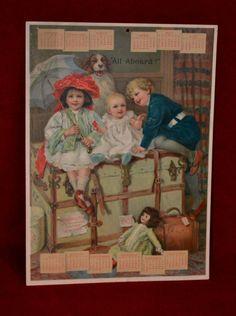 1903 Large Calendar Print, Metropolitan Life Insurance, Children, Dog, Doll