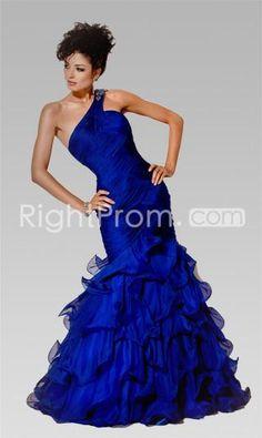 Luxurious+Chiffon+Trumpet/mermaid+One+Shoulder+Floor-length+Royal+Blue+Prom+Dresses