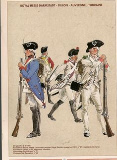 AWI French: French Infantry. L to R- Fusilier Royal Hesse-Darmstadt (97th), Fusilier Dillon (90th), Grenadier Auvergne (17th) & Chasseur Touraine(34th).