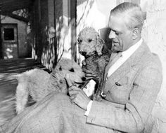 Boris Karloff with his Bedlington Terriers.