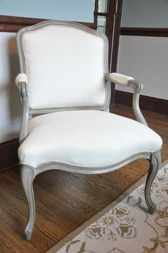 Louis side chair chalk paint and linen fabric makeover by Serendipity Refined Use this color for goodwill chair!