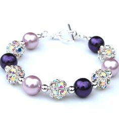 Bridesmaid Gifts, Eggplant and Lavender Pearl Rhinestone Bracelet, Rhinestone Jewelry, Wedding Party