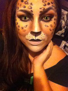 Halloween cat makeup leopard print by Lucy Medina