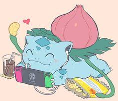 Ivysaur relaxing and playing Nintendo Switch (not my art) Venusaur Pokemon, Bulbasaur, Mega Pokemon, Pokemon Fan Art, Pokemon Stuff, Pokemon Fusion, Pokemon Cards, Kawaii Drawings, Cute Drawings