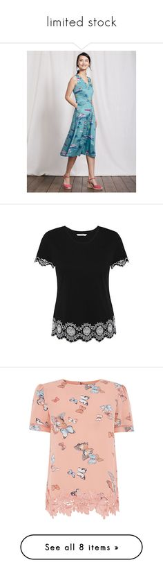 """limited stock"" by zaiee on Polyvore featuring tops, t-shirts, scallop t shirt, scallop edge top, george t shirts, print top, cotton tee, floral print t shirt, flower print top and lace t shirt"