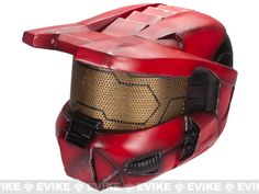 """Evike.com Airsoft Guns - Tac. Gear/Apparel   Evike.com Airsoft Guns - Head - Masks (Full)   Evike.com Airsoft Guns - Pre-Order Estimated Arrival: 11/2012 --- Limited Edition Rlux Custom Airsoft Wire Mesh """"Master Chief"""" Helmet - Red / Large   $110.00"""