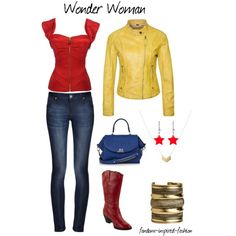 """""""Wonder Woman Inspired Outfit"""" by fandom-inspired-fashion on Polyvore. Wonder Woman's costume in the comics is very bold, bright and busy. I've used modern versions of her individual pieces, using solid colors so it can be worn everyday. The top mimics Wonder Woman's corset, and the jeans replace her shorts. A yellow leather jacket adds the gold. You still have the red boots, but the stars, chevrons and lasso have been reduced to accessories."""