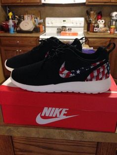 Custom Roshe Run Black America American Flag by WebberCityCustoms