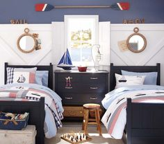 Nautical themed home decor. Nautical home decor and accents for your summer parties and beach influenced property. Boys Nautical Bedroom, Nautical Bedding, Guy Dorm Rooms, Room Themes, Kid Spaces, New Room, Decoration, Shabby, Nautical Rope